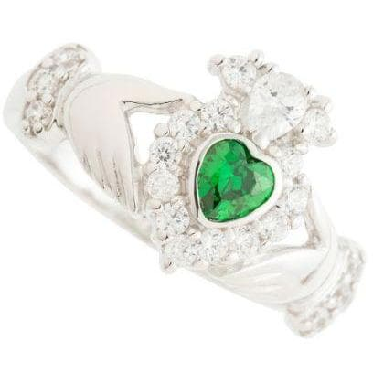 Green Crystal Sparkle Claddagh Sterling Silver Ring - Galway Irish Crystal