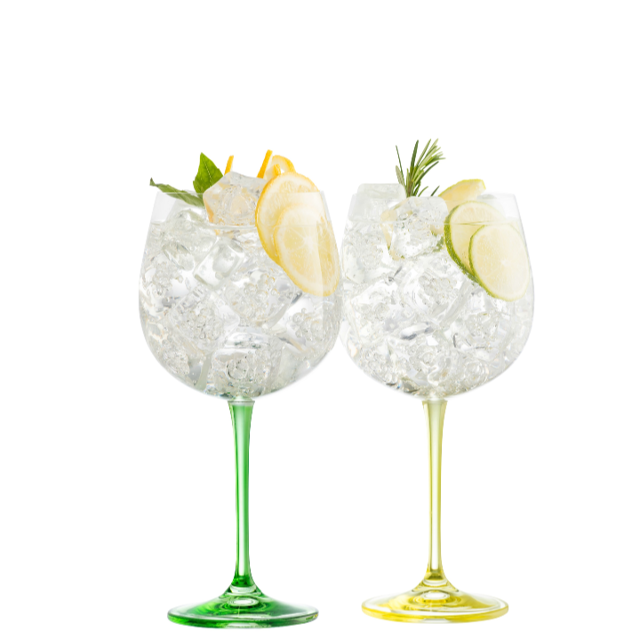 Engraved Gin & Tonic Glass Pair- Lemon & Lime