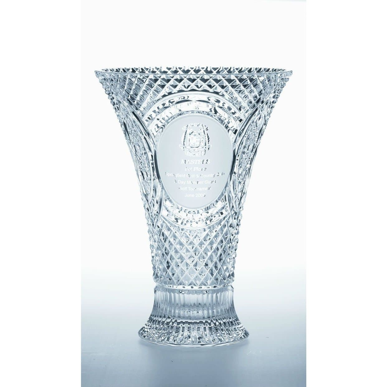 "14"" Waisted Vase Engraved (GM1111E) - Galway Irish Crystal"