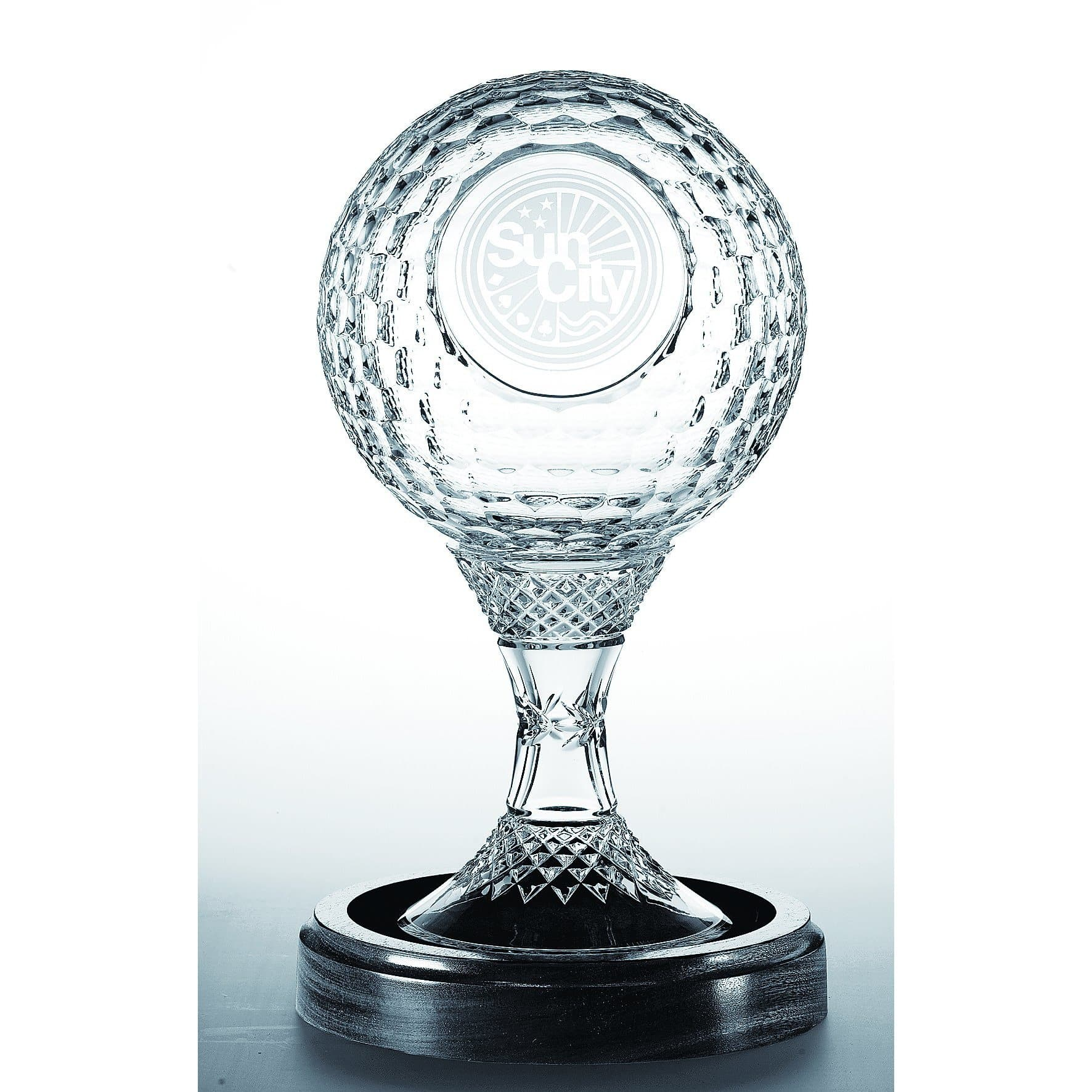 "8"" Golf  Ball Trophy (includes base) Engraved (GM1125E) - Galway Irish Crystal"