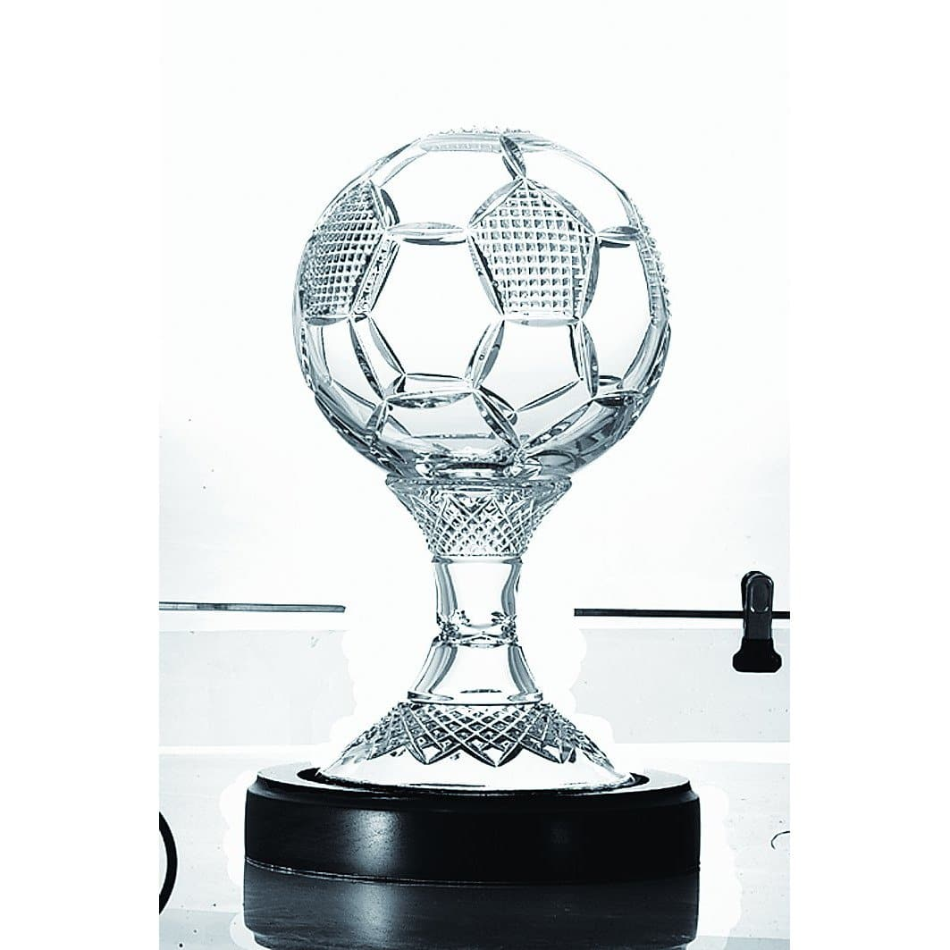 "8"" Soccer Ball Trophy (includes base) Engraved (GM1165E) - Galway Irish Crystal"