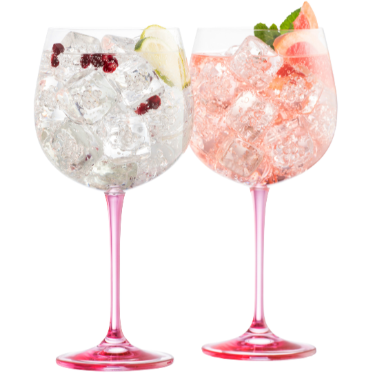 Engraved Gin & Tonic (Pair) - Pink (G600132E) - Galway Irish Crystal
