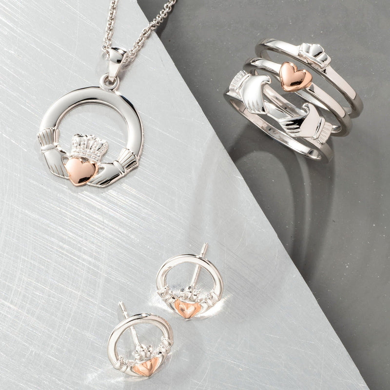 Claddagh Earrings Sterling Silver & Rose Gold - Galway Irish Crystal
