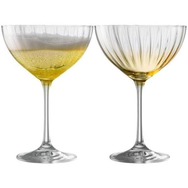 Erne Saucer Champagne Pair Amber - Galway Irish Crystal