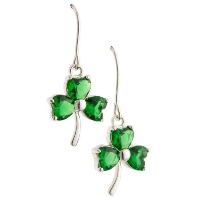 Shamrock Green Crystal Pendant Earrings G8109 - Galway Irish Crystal