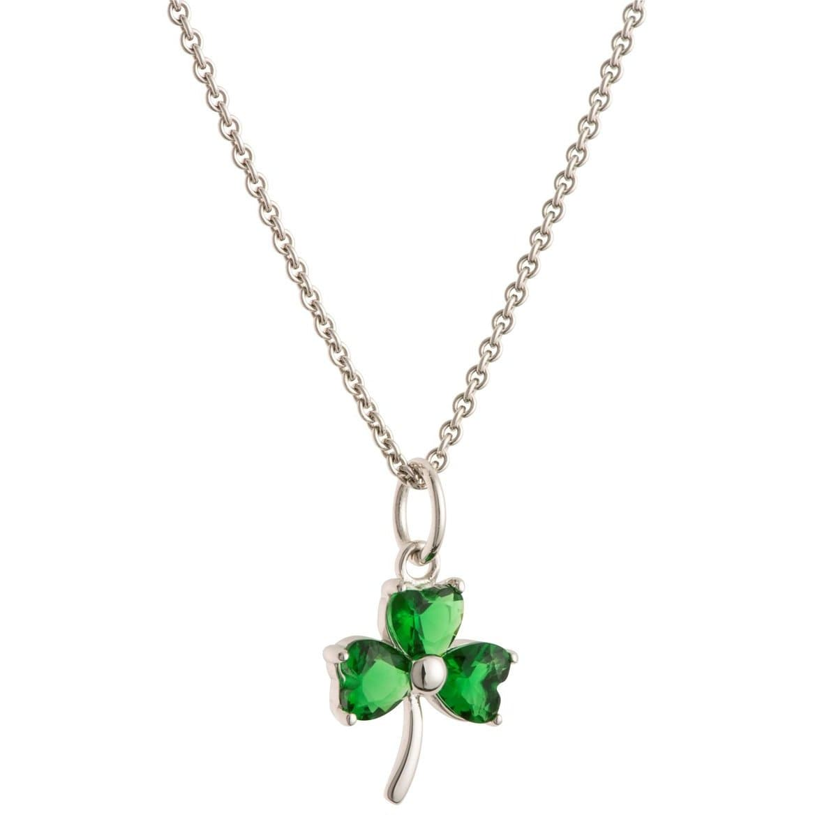 Shamrock Green Crystal Sterling Silver Pendant G8108 - Galway Irish Crystal