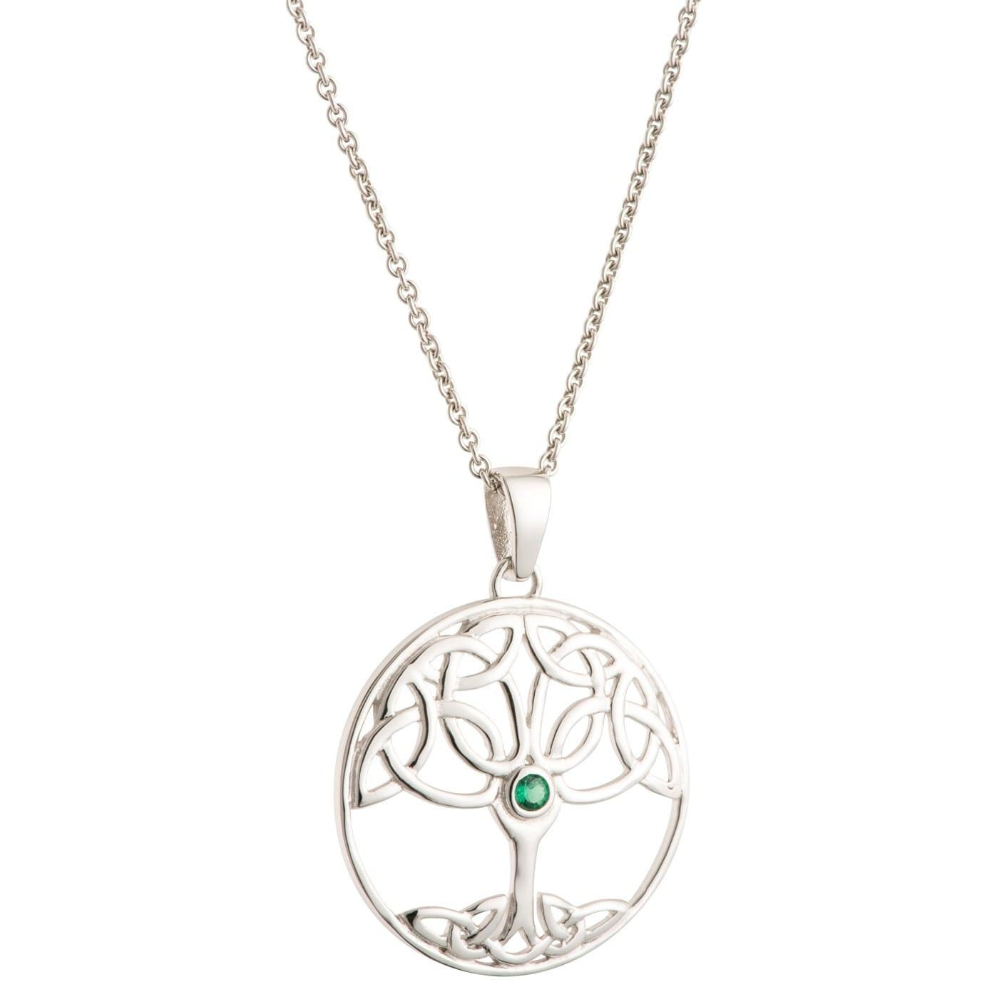 Tree Of Life Green Crystal Sterling Silver Pendant G8104