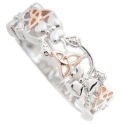 Trinity Knots & Shamrocks Rose Gold & Sterling Silver Ring (G79) - Galway Irish Crystal