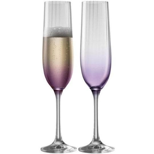 Erne Champagne Flute Pair Amethyst