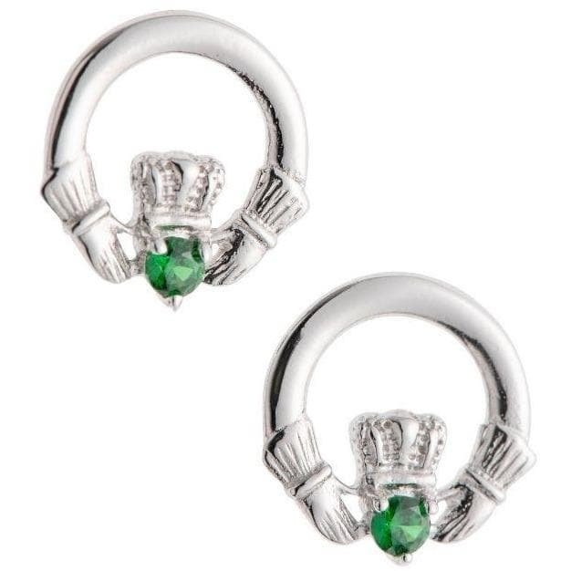 Green Crystal Claddagh Sterling Silver Earrings