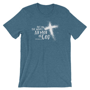 Armor of God shirt, white print on dark tee Ephesians 6:11