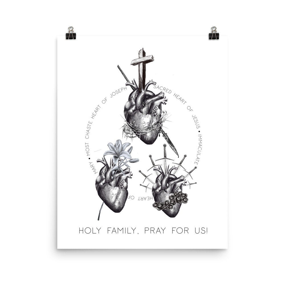 Hearts of the Holy Family Pray for Us Enhanced Matte Paper Poster (in)