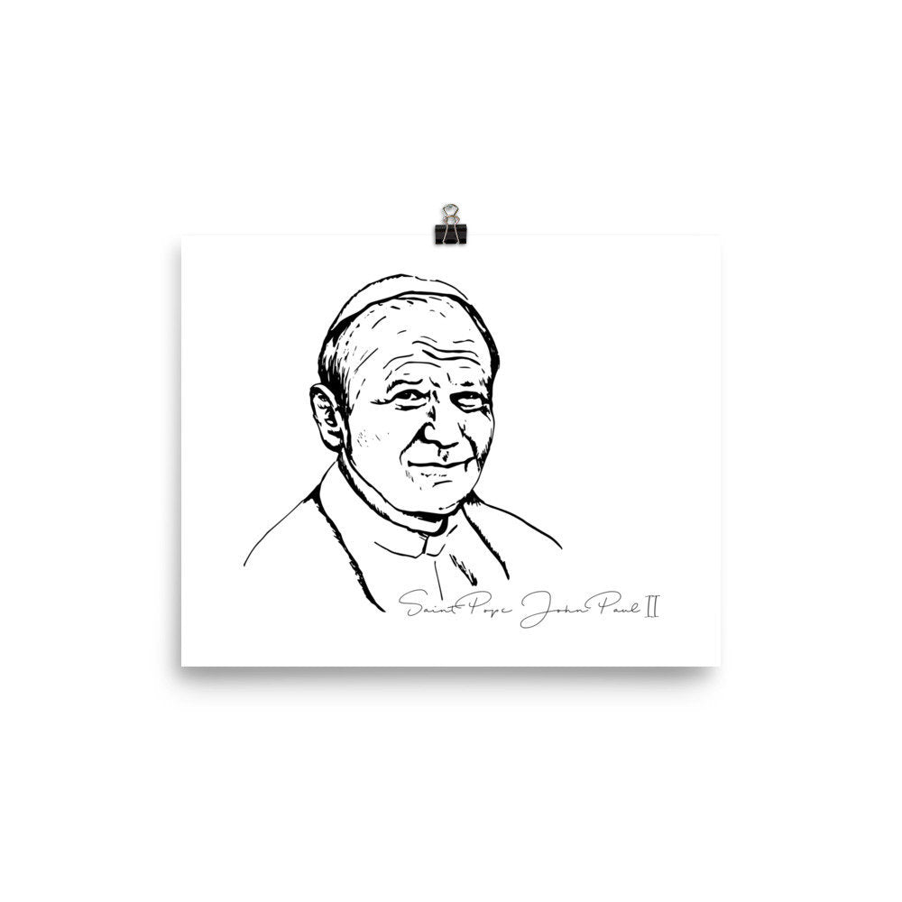 Saint Pope John Paul II Portrait Poster Baptism or Confirmation gift