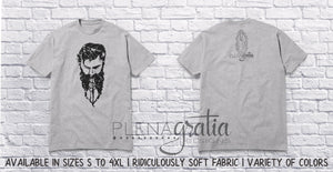 Distressed Bearded Man Praying Rosary | Dark Print Light Shirt
