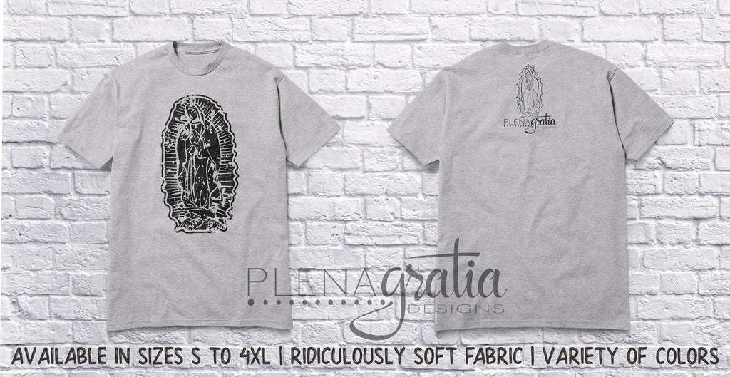 Distressed Our Lady of Guadalupe | Dark Print on Light Shirt | Catholic Shirt