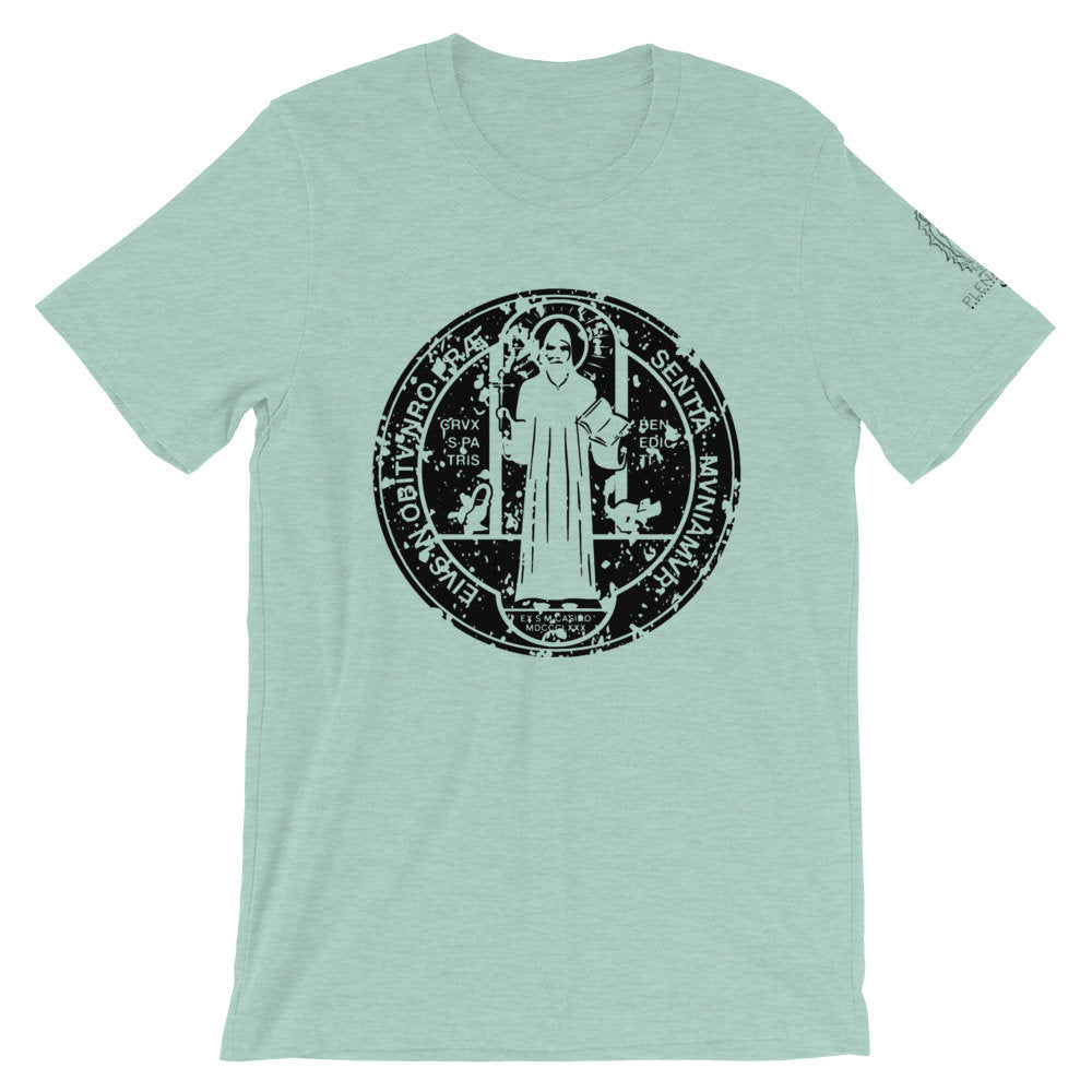 Distressed Saint Benedict Medal Shirt | Dark Print on Light Shirt | Catholic Tee | S to 4XL Front Back and Sleeve design