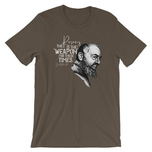 Saint Padre Pio, the Rosary is a Weapon for these times Catholic Tee