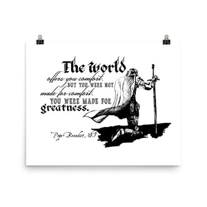 Kneeling Knight with Pope Benedict XVI quote about Greatness Poster Print