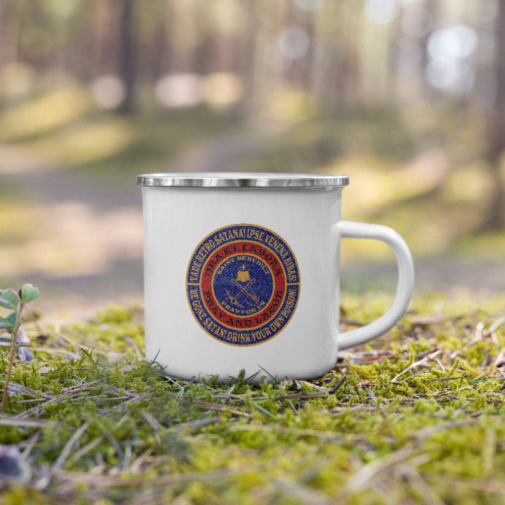 Saint Benedict Badge (Shovel and Pickaxe) Enamel Mug