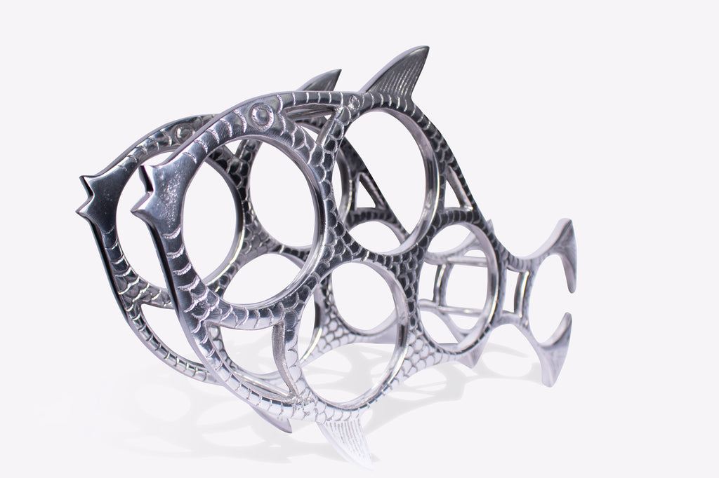 Gasping guppy 5 bottle wine rack