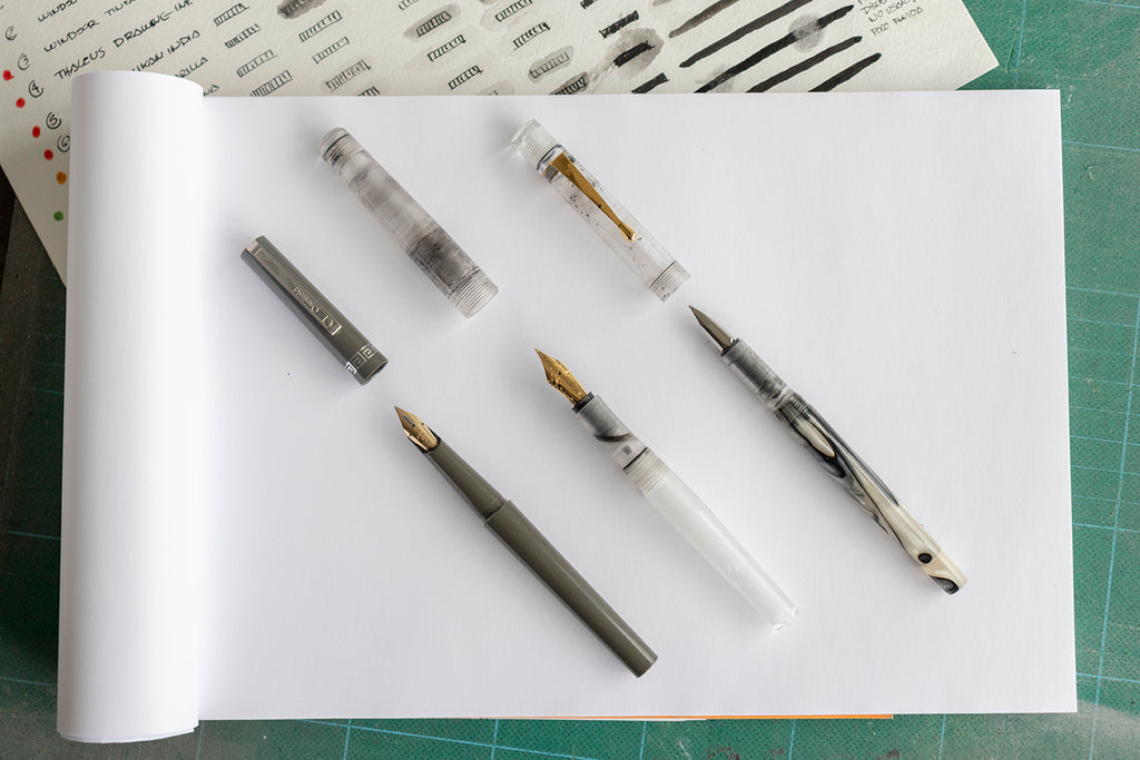 Indigraph first prototypes and Osmiroid pen