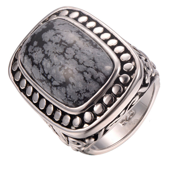Beautiful Snowflake Obsidian Ring Women , ring , Tofana , Tofana Fashion and Jewelry -  - Tofana online store
