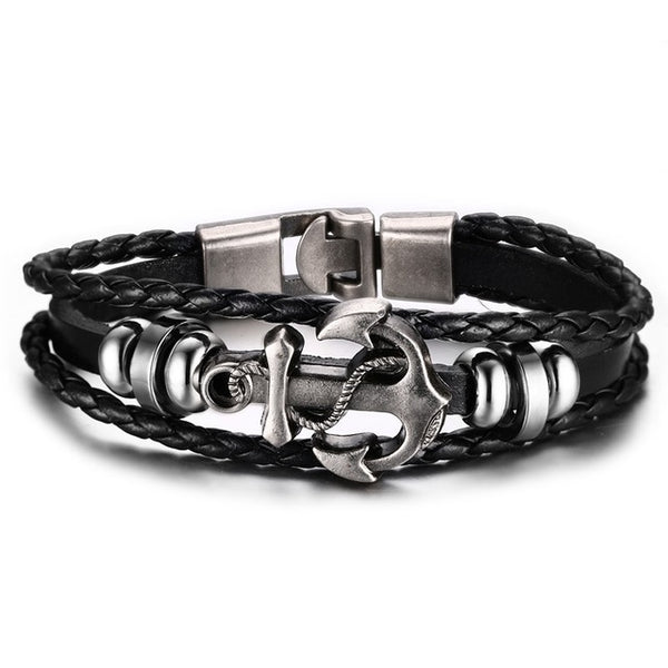 Leather Charm Bracelet Black , bracelet , Tofana , Tofana Fashion and Jewelry -  - Tofana online store
