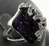 Beautiful Silver Blue Stone Marcasite Ring For Women , ring , Tofana , Tofana Fashion and Jewelry -  - Tofana online store