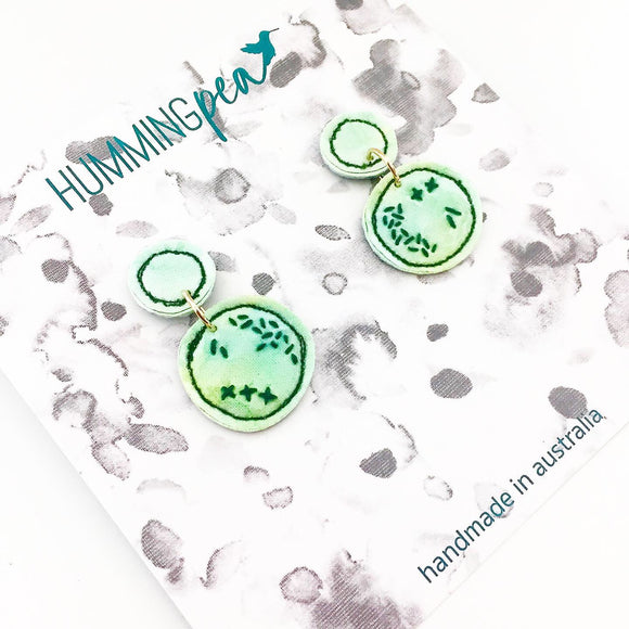 stitched watercolour . statement earrings . round green love