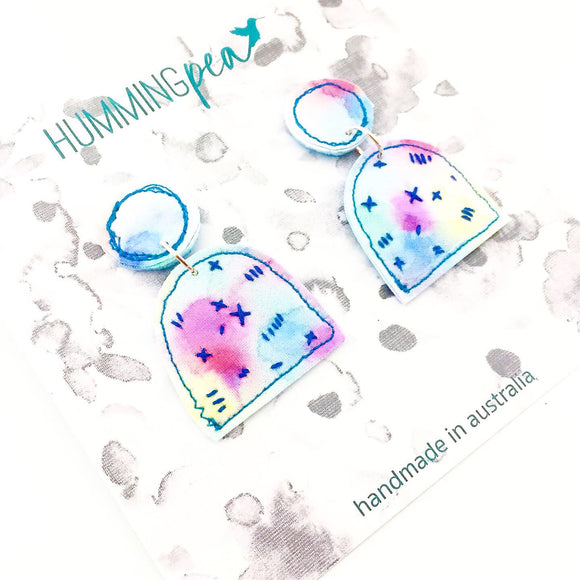 stitched watercolour . statement earrings . prancing unicorns