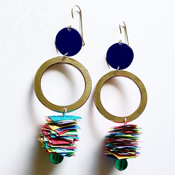 statement earrings - INDUSTRIAL CONFETTI - rainbow dance