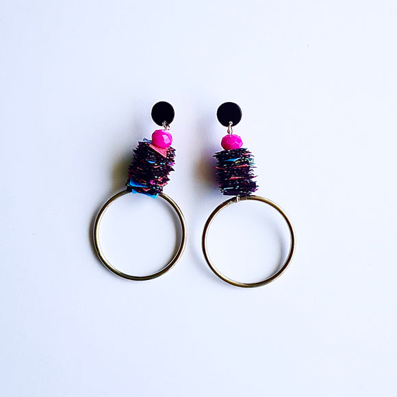 statement earrings - INDUSTRIAL CONFETTI - black magic