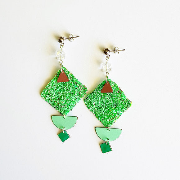 statement earrings - WOVEN ABSTRACT - teal manga