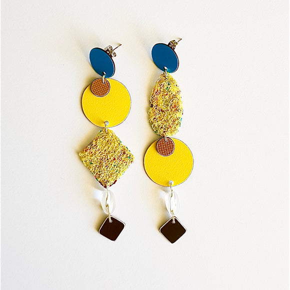 statement earrings - WOVEN ABSTRACT - abstract gold