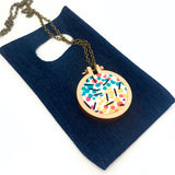 recycled fabric pendant . pink blue geo .