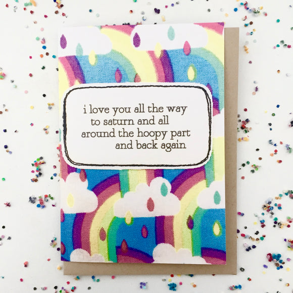 greeting card . i love you to saturn .