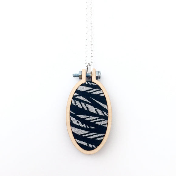 recycled fabric pendant . monochrome waves .