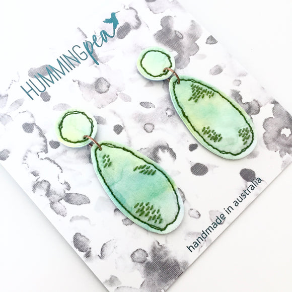 stitched watercolour . statement earrings . green dream
