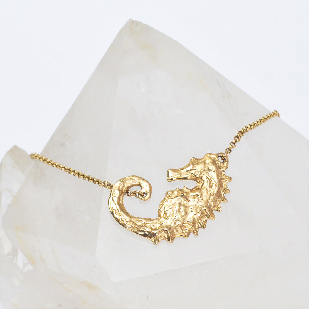 Yellow Gold Seahorse Necklace