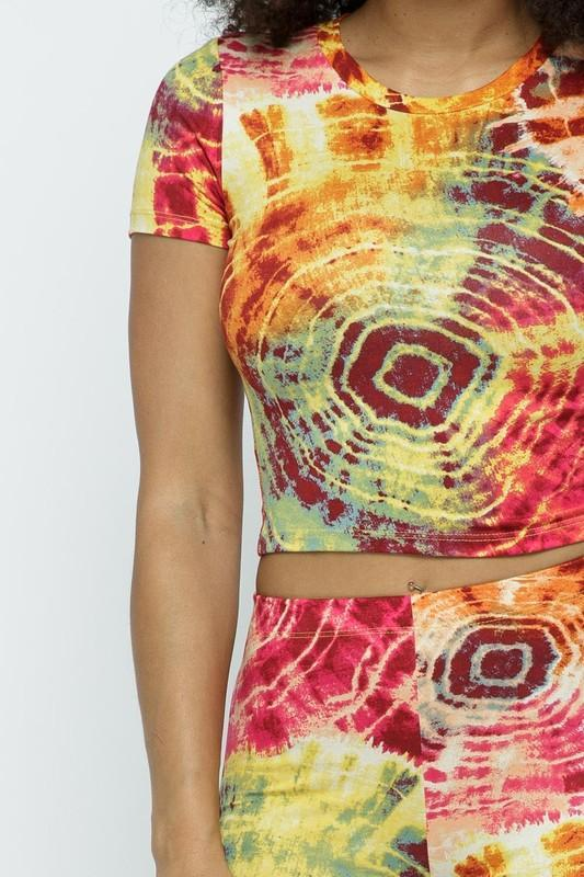 Tie Dye Crop Top and Biker Short Set ID:JVS50047 - E.Y.U Store