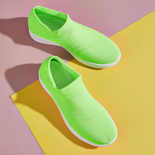 Neon Slip On Wide Fit Sneakers - E.Y.U Store