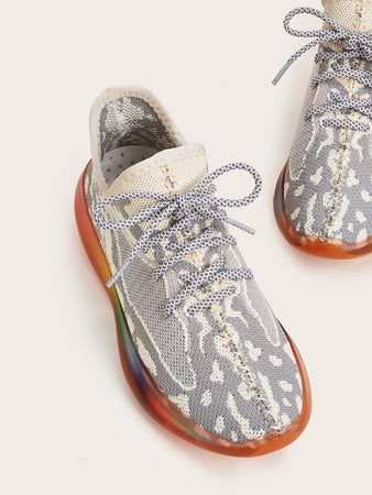 Rainbow Sole Lace-up Front Sneakers - E.Y.U Store