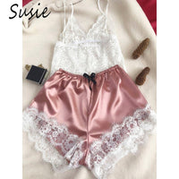 Womens Sexy Eyelash Floral Lace Lingerie Set V-Neck Crop Top Bowknot Faux Silk Wide Leg Shorts Contrast Color Pajamas Sleepwear