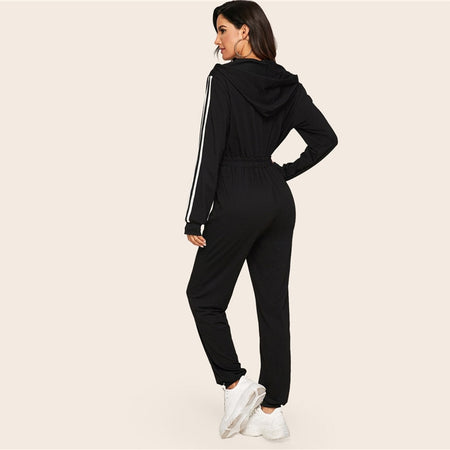 Striped Side Zip Front Drawstring Hooded Tracksuit
