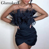 Glamaker Off shoulder vestido sexy club mini dress - E.Y.U Store