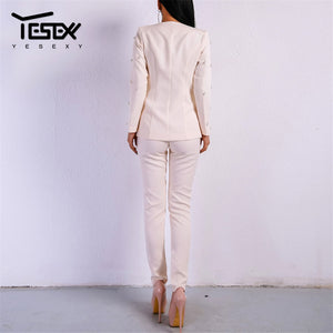 Sexy Long Sleeve Deep V Neck Women Blazer Suit - E.Y.U Store