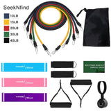 New 14Pcs Resistance Bands Set Yoga Exercise Fitness Band Rubber Loop Tube Bands Gym  Fitness Exercise Pilates Yoga Brick