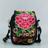 Women Shoulder Bag Travel Pouch Vintage Floral Embroidered Crossbody Zip Bag