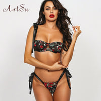 ArtSu 2 Pieces Lace Bra And Panty Set Women Sexy Half Cup Bra Bodycon Intimates Lingerie Set Bralette Lace Brief Set ASSU60148