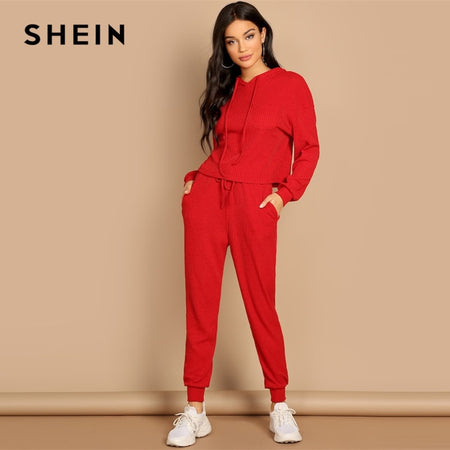Hoodie and Drawstring Waist Pants Track Suit